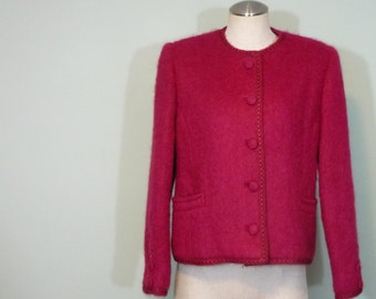 Mid Century Boucle Blazer / 1960s Irish Wool & Mohair Jacket / Modern Size Large L to Extra Large XL
