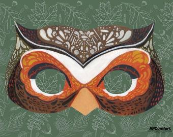 DOWNLOADABLE-PRINTABLE Paper Animal Masks: Owl