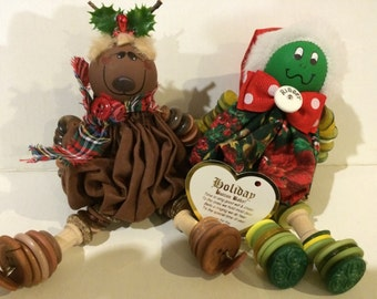 Reindeer and a Grinch Button Baby Dolls