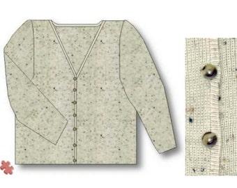 Easy Rib Cardigan, Machine Knitting Pattern. Download version