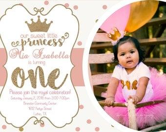 Princess First Birthday Party Invitation