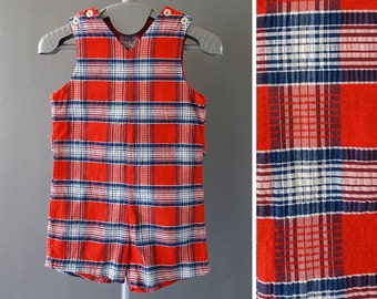 50s Toddler - Child Romper- 1950s Vintage One Piece - 50s Kids Romper - Red Plaid Romper - Shoulder Buttons - Magic Years Lord and Taylor