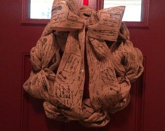 Burlap script wreath
