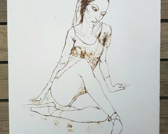 "Lithograph after the work ""Seated ballerina"" Jean Jacob workshop Bellini vintage"
