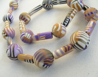 Caramel and Violet Stripes Necklace