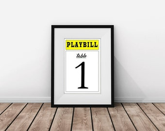 PLAYBILL Broadway Table Numbers for Wedding Reception, Rehearsal Dinner or Bar/Bat Mitzvah, 4 x 6 in.