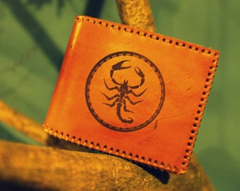 Mens Wallet - Billfold Leather Wallet Pyrography with Classic Scorpion Design - Full Grain Leather - Initials Wallet