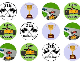 Racing Car Toppers, 7th Birthday Toppers, Racing Car Theme, Racing Car Party, Edible Prints, Wafer Paper, Icing Paper, Custom Toppers