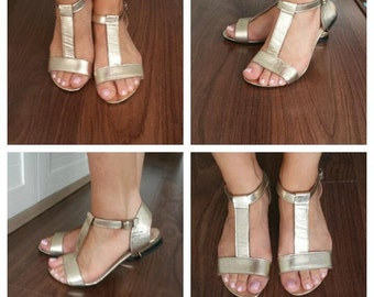 Strips leather sandals gold, Genuine leather sandals, Gold, Handmade, Limited eddition