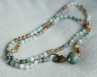 Hand knotted necklace with different gemstones