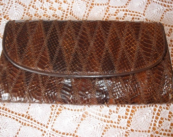 Vintage Ackery snake skin patch work leather clutch from 70's