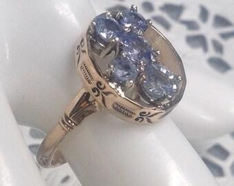 14k Vintage Blue Sapphire Ring