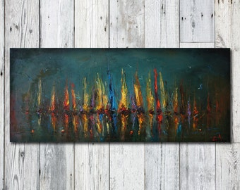 Oil Painting Seascape, Contemporary Painting, Original Artwork, Sailboats Painting, Bedroom Wall Decor, Modern Wall Art, Green, Oil Painting