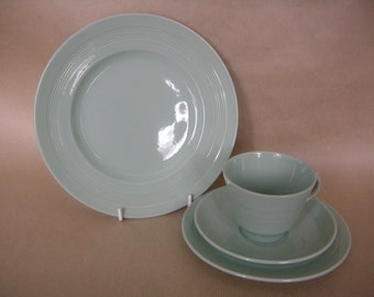 """Beryl Ware from Woods. Cup saucer and side plate Trio with 9"""" lunch plate."""
