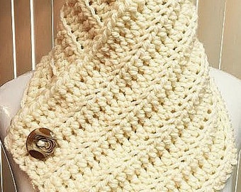 Neck Warmer Scarf, Button Scarf, Neck Warmer Cowl, Crochet Neck Warmer, Button Cowl, Cream Scarf, Button Cowl Scarf, Crochet Button Scarf
