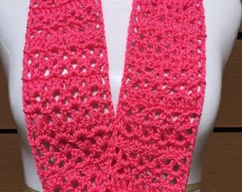 Solid Bright Pink Scarf, Summer Scarf, Crocheted Scarf, Infinity Scarf, Lightweight Scarf, Mobius Scarf, Gifts for Her, Small Circle Scarf