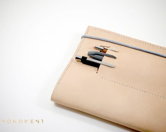 Hand stitched leather Moleskine Notebook Cover with pencil compartment with elastic in different colors. For work, design, creatives, notes