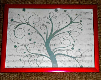 wall decor, wall picture, kids room decor tree print in frame
