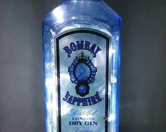 Handmade White LED 8-Mode Bombay Sapphire Gin Liquor Bottle Lamp