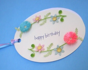 "Handmade Quilled Gift Tag - ""Happy Birthday"" - Quilling"