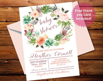 Boho Baby Shower Invite Sprinkle Invitation 5x7 Digital Personalized Succulent Wreath s