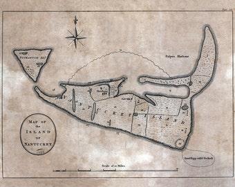 1782 Map of Nantucket Island Massachusetts