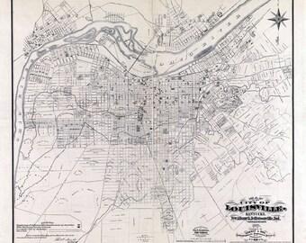 1873 Map of Louisville Kentucky New Albany & Jeffersonville
