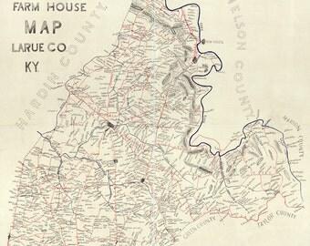 1899 Farm House Map of Larue County Kentucky