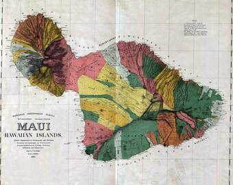 1885 Map of Maui Hawaiian Islands