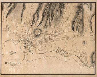 1887 Map of Honolulu Hawaii