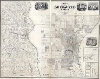 1858 Map of Milwaukee Wisconsin