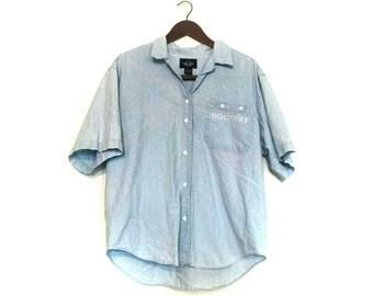 Vintage Hipster Shortsleeve denim Dockers shirt