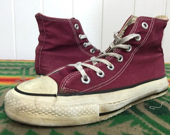 90's vintage converse chuck taylor burgundy made in usa size 5 1/2
