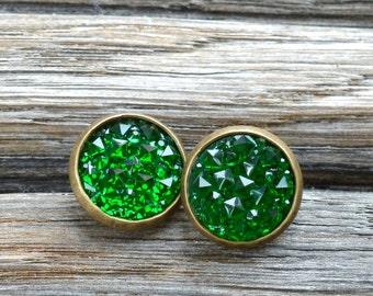 Green magic druzy earrings, green studs