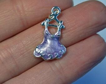 Dress on a hanger charm, purple enamel, silver plated