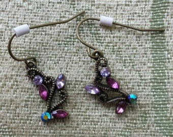 Filigree Dangle Earrings with Crystals
