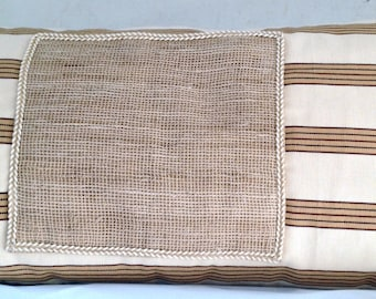 Striped Off-white Linen with Linen Burlap Applique