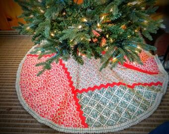 Tree Skirt-Vintage Nordic Patchwork Christmas