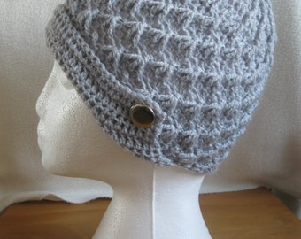 Super Soft Grey Coloured Handmade Crocheted Winter Hat.