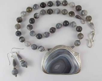 Ice Cave Botswana agate necklace & earrings set - FREE Shipping