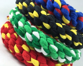 SUPERHERO Rope Dog Toy made from Upcycled T-shirts in Justice League Colors