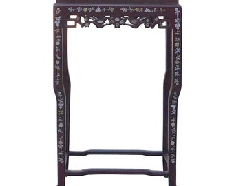Chinese Rosewood Mother of Pearl Marble Tall Pedestal Plant Stand cs1630-2E