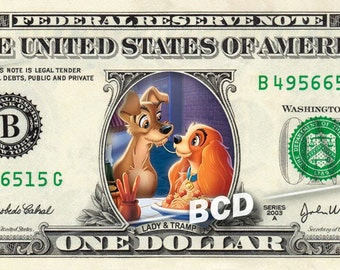LADY and the TRAMP on a REAL Dollar Bill Disney Cash Money Collectible Memorabilia
