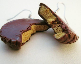Peanut butter cup - chocolate candy earrings