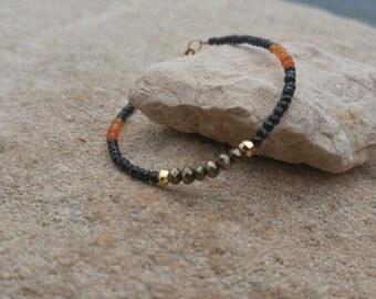Black spinel carnelian pyrite 14k gold fill bracelet