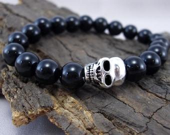 Bracelet skull and Black Onyx beads