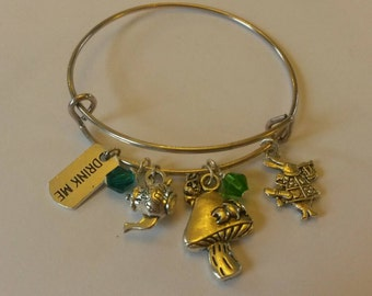 Alice in wonderland silver bangle expandable bracelet