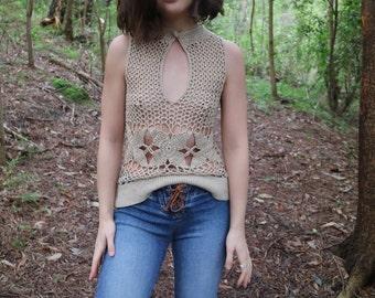Vintage Reversible Crochet Keyhole Shirt