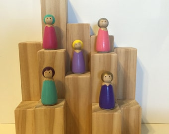 Fairy inspired peg dolls , party favors, birthday favors, stocking stuffers