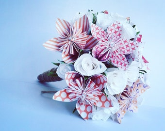 BridalFlowers Red Origami Crepe Paper Bouquet